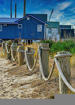Ropes, Fence, Pier, Harbor, Demarcation, Beach, Sand