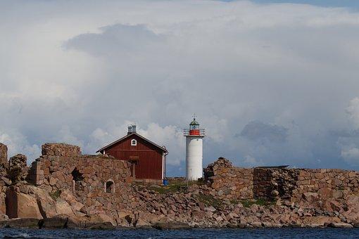 Lighthouse, The Lighthouse, Cottage, Archipelago, Sea