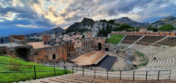 Building, Stage, Arena, Theater, Teatro Antico, View