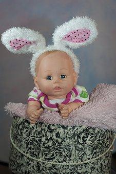 Doll, Toy, Baby Doll, Bunny Ears, Curtain, Lighting