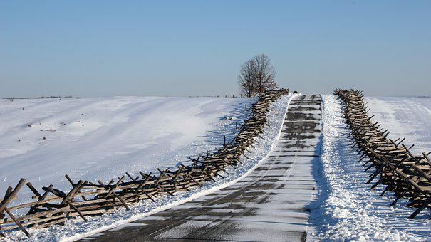 Road, Fence, Snow, Winter, Cold, Path, Calm, Distance