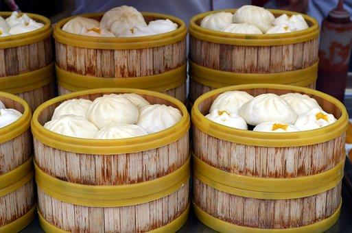 Dumpling, Sweet Bun, Bun, Pork, Steamer, Meal