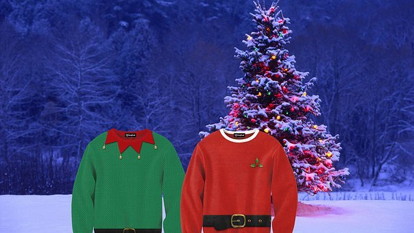 Christmas Sweater, Sweater, Christmas Tree, Green, Red