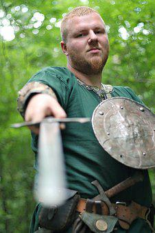Knight, Sword, Fencing, Middle Ages, Shield, Fist Label