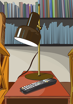 Lamp, Light, Tv Remote, Coffee Table, Books, Library
