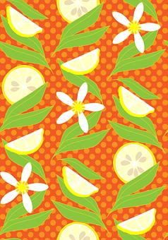 Lemons, Leaves, Pattern, Lemon Slices, Lemon Wedges