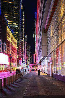 Empty Street, New York, Nyc, Manhattan, Night