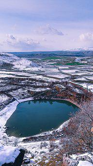 Lake, Field, Snow, Ormanardı Village, Winter, Rural