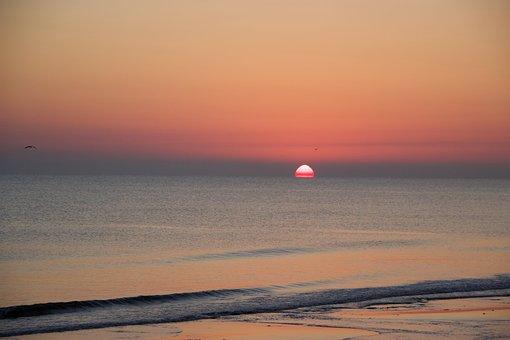 Sea, Horizon, Sunrise, Sun, Dawn, Morning, Beach, Waves