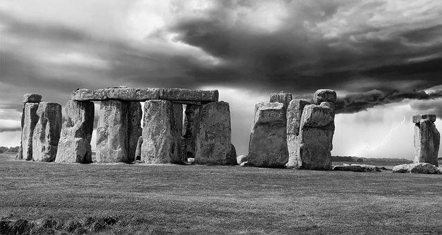 Stonehenge, Black And White, Monochrome, Photoshop