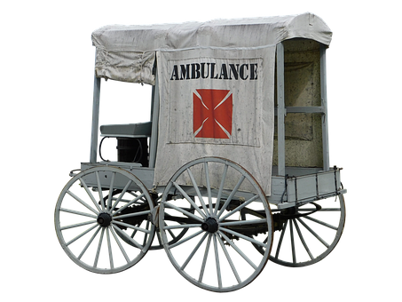 Ambulance, Old, Vintage, Antique, Wheels, Cut Out
