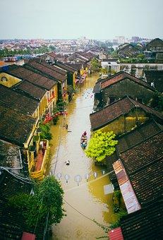 Boats, Flood, Houses, Street, Buildings, Flooding, City