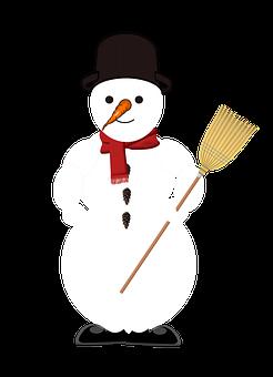 Snowman, Snow, Broom, Top Hat, Scarf, Icon