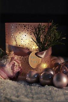 Christmas, Christmas Balls, Candle, Snow, Light