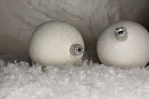 White, Christmas, Baubles, Balls, Christmas Baubles