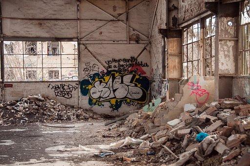 Abandoned Building, Graffiti, Debris, Ruin, Building