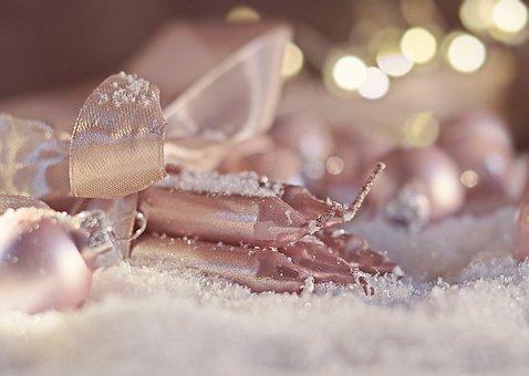 Christmas, Christmas Ball, Candles, Snow, Decoration
