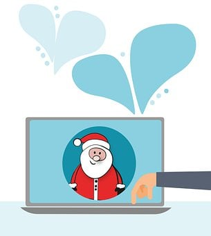 Santa Claus, Nicholas, Computer, Christmas, Shopping