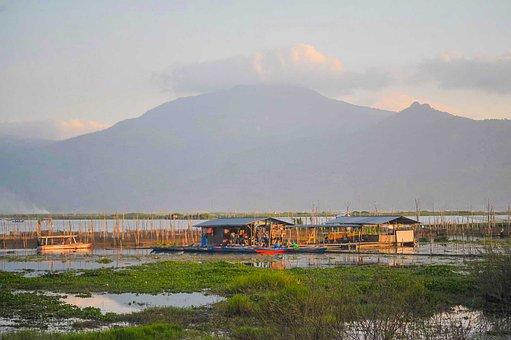 Rawa Pening, Lake, Houses, Village, Town, Mountains