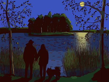 Couple, Lovers, Lake, Love, Romantic, Trees, Sky, Night