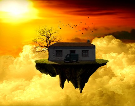 Fantasy, Island, House, Clouds, Sky, Sunset, Sunrise