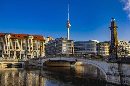 Buildings, Bridge, Tv Tower, Tower, Spree, Berlin