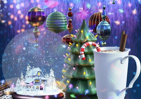 Crystal Ball, Chocolate, Snow, Tree, Ornaments