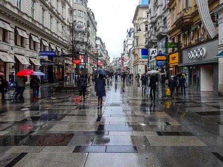 Vienna, Street, Rain, City, Austria, Architecture