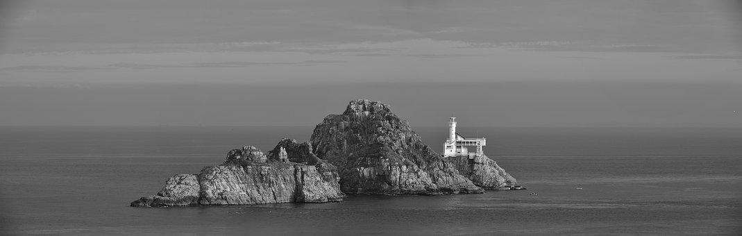 Oryukdo, Lighthouse, Monochrome, Black And White