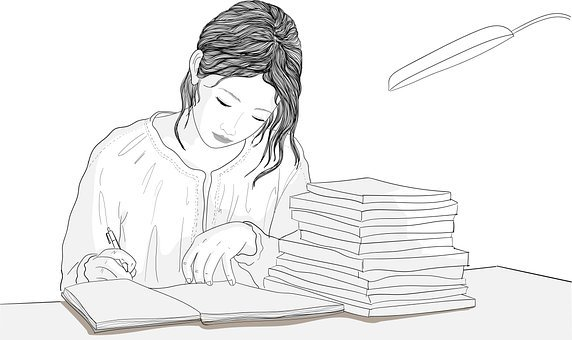 Woman, Writing, Table, Work, Books, Paper, Education
