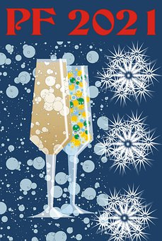 New Year, Glasses, 2021, Fireworks, Bubbles, Drink