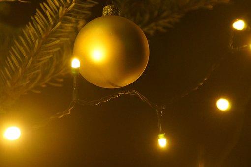 Christmas, Christmas Ornament, Gold, Lichterkette