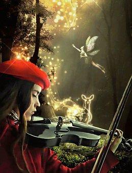 Fantasy, Girl, Violin, Playing, Musical Instrument