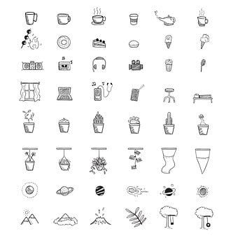 Icons, Objects, Collection, Plants, Planets, Tree