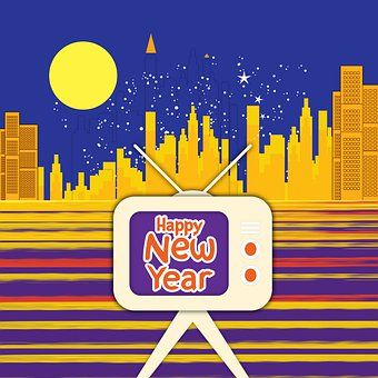 Tv, Buildings, New Year, Happy New Year, Celebration