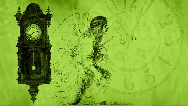 Clock, Angel, Fantasy, Christmas, Holy, Heavenly, Watch