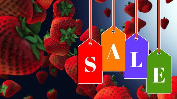 Sale, Tag, Strawberry, Discount, Price, Advertising