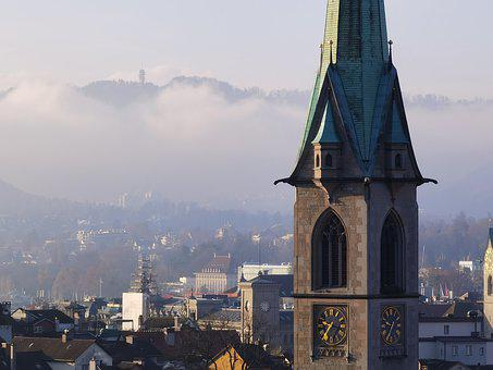 Zurich, Architecture, Church, Cathedral, Building, City