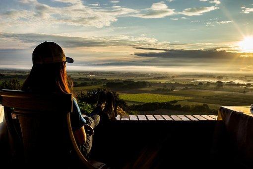 Sunset, Woman, Field, Terrace, Sun, Sunlight, Dusk