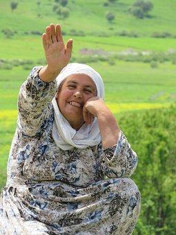 Woman, Smile, Waving, Greeting, Spring, Mesopotamia