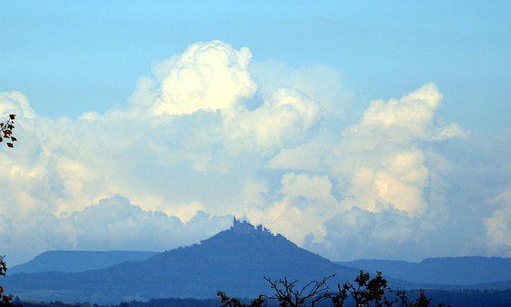 Clouds, Mountain, Hohenzollerncastle, Sky, Mount