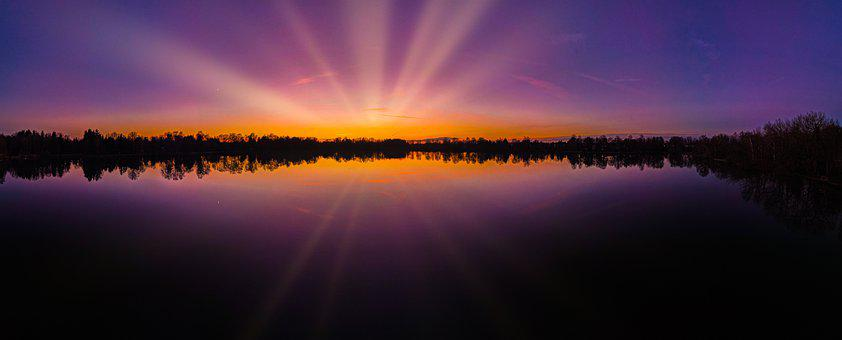 Sunset, Sunrise, Lake, Panorama, Nature, Landscape, Sun
