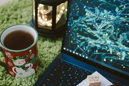 Tea, Laptop, Christmas, New Year's Eve, New Year