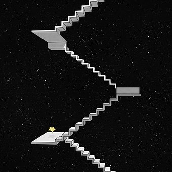 Stair, Star, Universe, Stairwell, Steps, Night, Galaxy