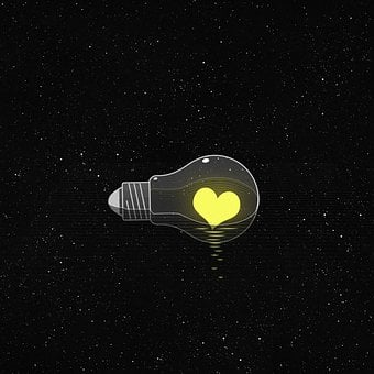 Light Bulb, Heart, Universe, Stars, Starry, Space