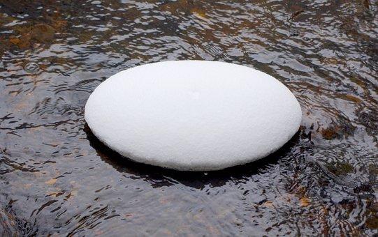 Snow, Snowy Pebble, River, Creek, Oval, Winter, Water