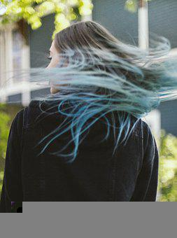 Girl, Woman, Colored Hair, Blue Hair, Lifestyle, Summer