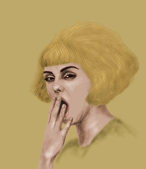 Yawn, Portrait, Yellow, Girl, Woman, Hair
