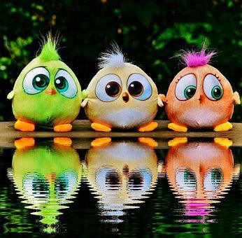 Birds, Birdie, Water, Bank, Mirroring, Plush
