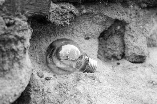 Light Bulb, Retro, Broken